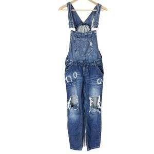 Machine Denim Overalls Jeans Distressed Dark 26